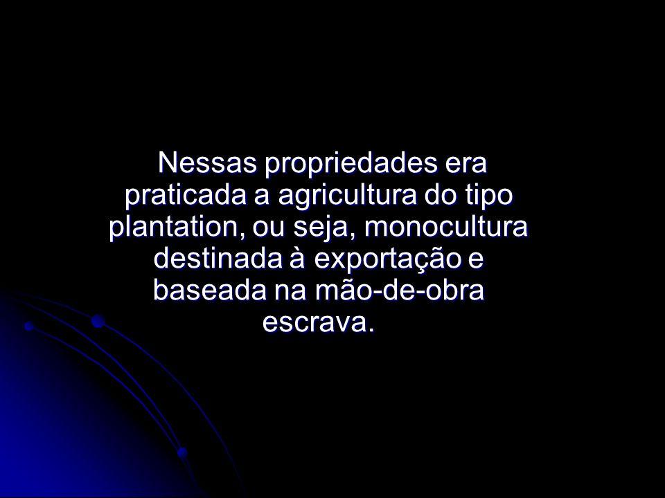 Nessas propriedades era praticada a agricultura do tipo plantation, ou seja, monocultura destinada à exportação e baseada na mão-de-obra escrava.