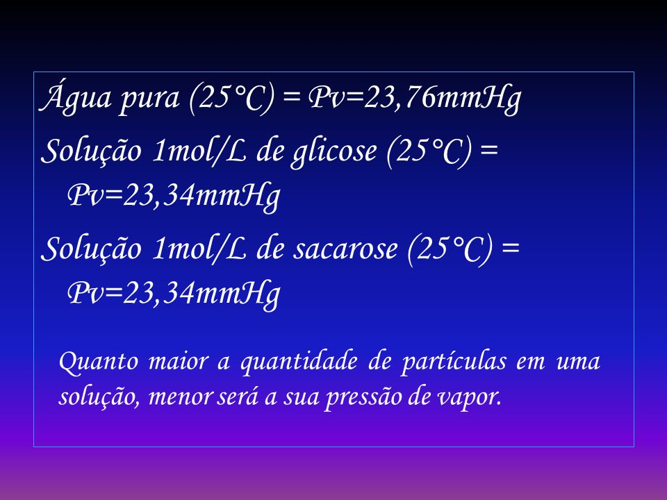 Água pura (25°C) = Pv=23,76mmHg