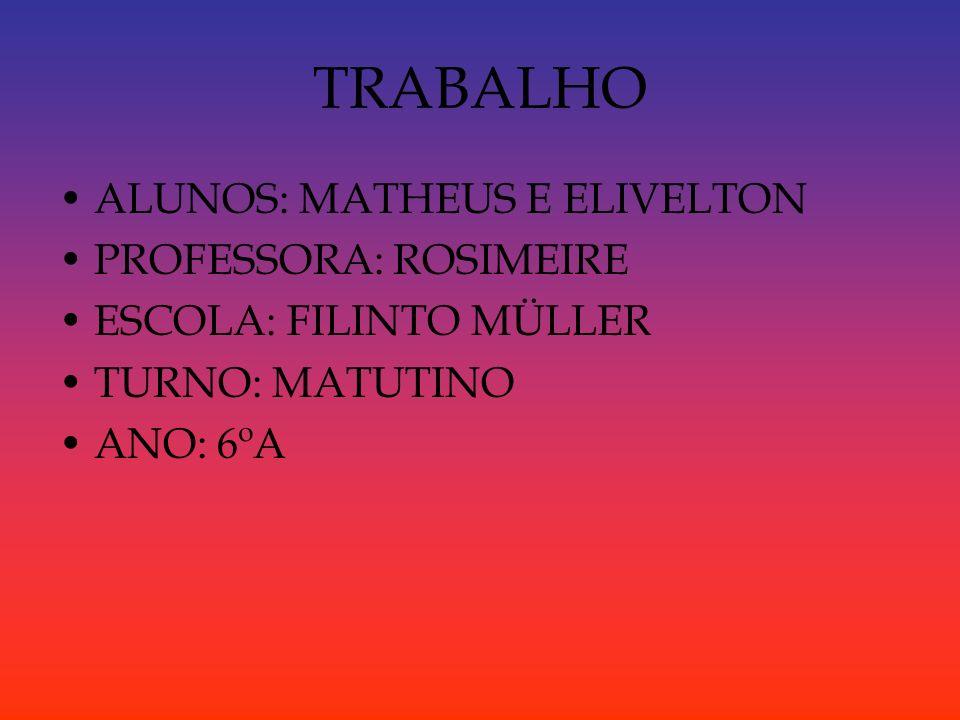 TRABALHO ALUNOS: MATHEUS E ELIVELTON PROFESSORA: ROSIMEIRE