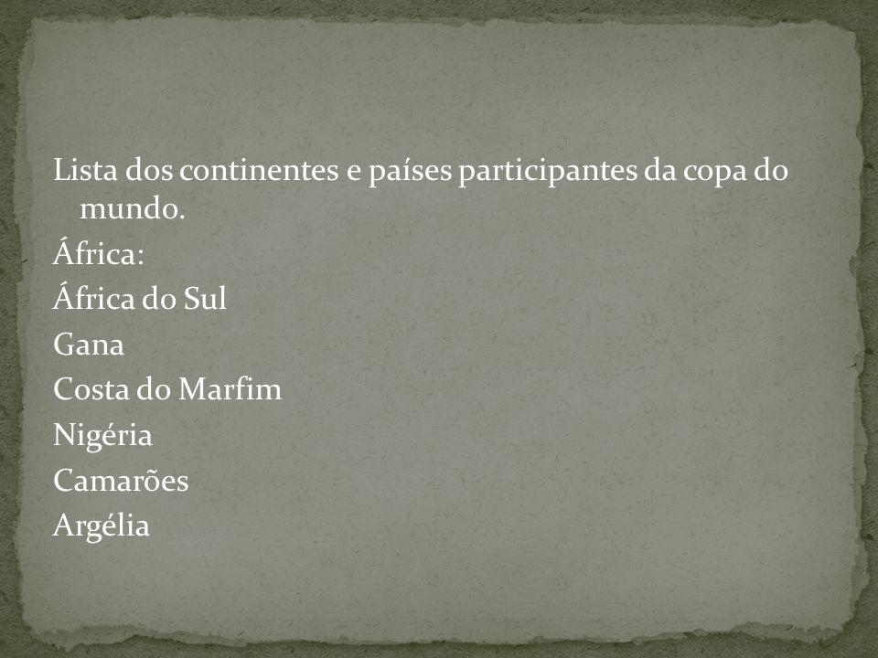 Lista dos continentes e países participantes da copa do mundo