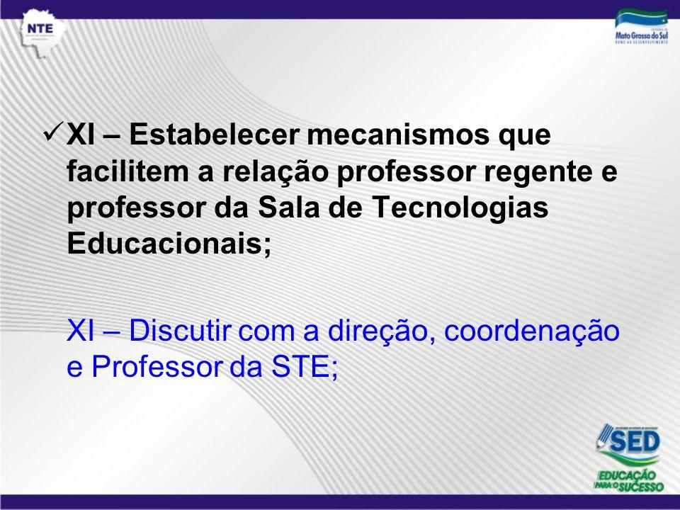 XI – Estabelecer mecanismos que facilitem a relação professor regente e professor da Sala de Tecnologias Educacionais;