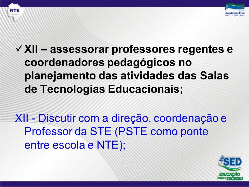 XII – assessorar professores regentes e coordenadores pedagógicos no planejamento das atividades das Salas de Tecnologias Educacionais;