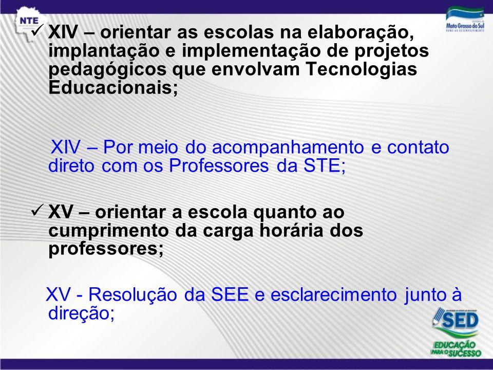 XIV – orientar as escolas na elaboração, implantação e implementação de projetos pedagógicos que envolvam Tecnologias Educacionais;
