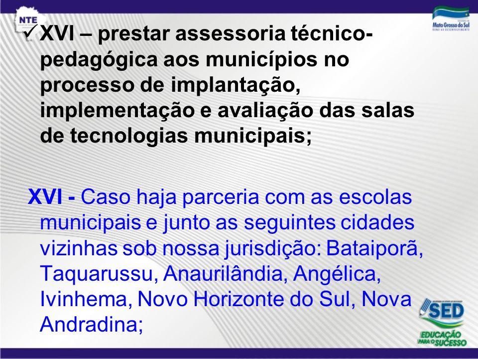 XVI – prestar assessoria técnico-pedagógica aos municípios no processo de implantação, implementação e avaliação das salas de tecnologias municipais;