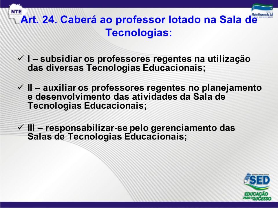 Art. 24. Caberá ao professor lotado na Sala de Tecnologias: