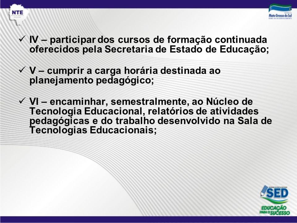 IV – participar dos cursos de formação continuada oferecidos pela Secretaria de Estado de Educação;