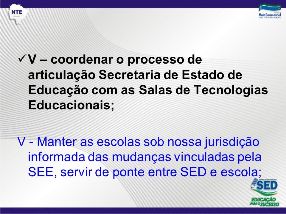 V – coordenar o processo de articulação Secretaria de Estado de Educação com as Salas de Tecnologias Educacionais;