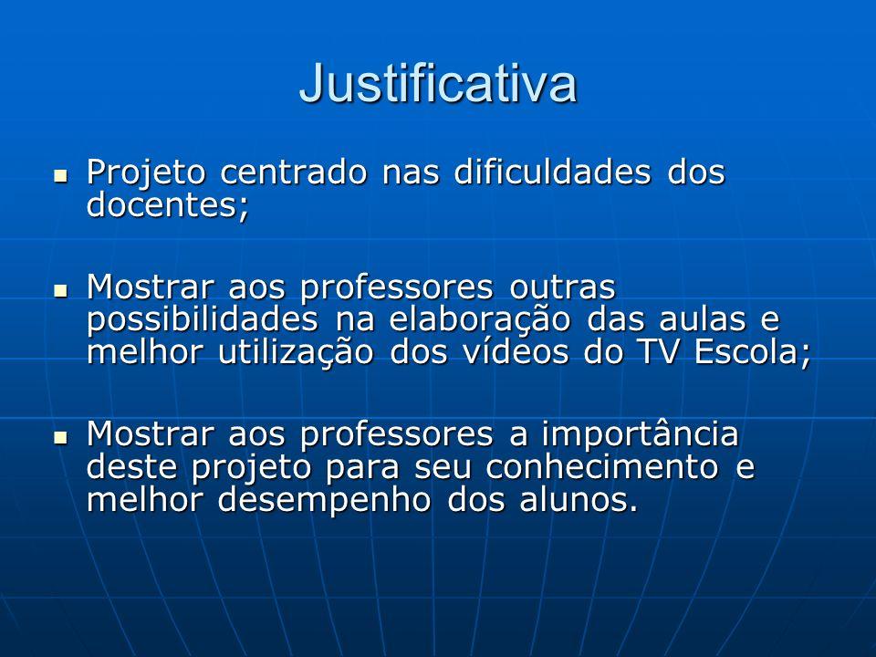 Justificativa Projeto centrado nas dificuldades dos docentes;