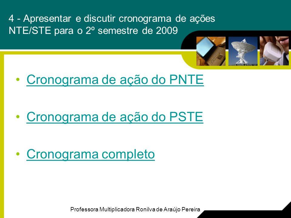 Cronograma de ação do PNTE Cronograma de ação do PSTE