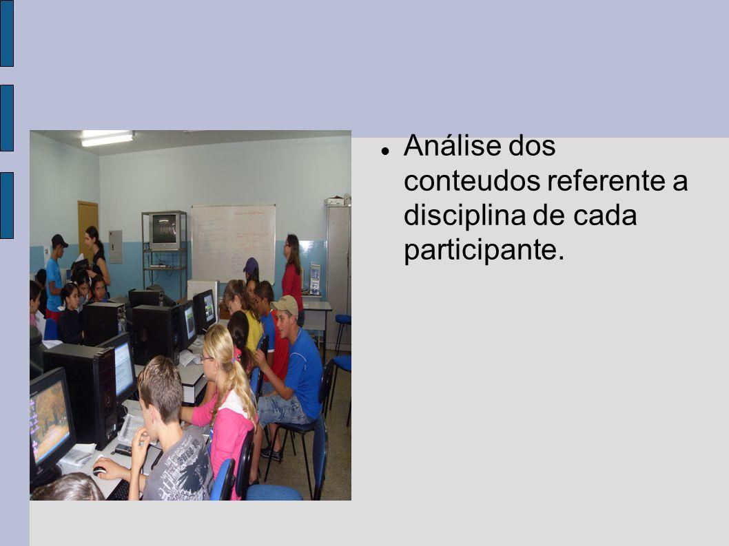 Análise dos conteudos referente a disciplina de cada participante.