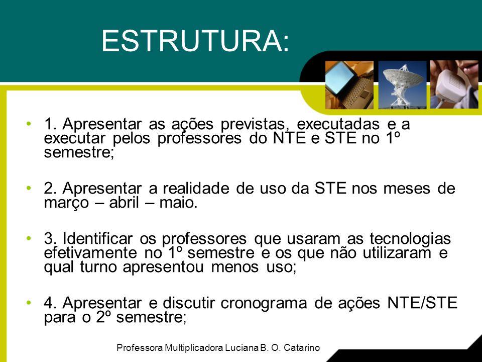 ESTRUTURA: 1. Apresentar as ações previstas, executadas e a executar pelos professores do NTE e STE no 1º semestre;