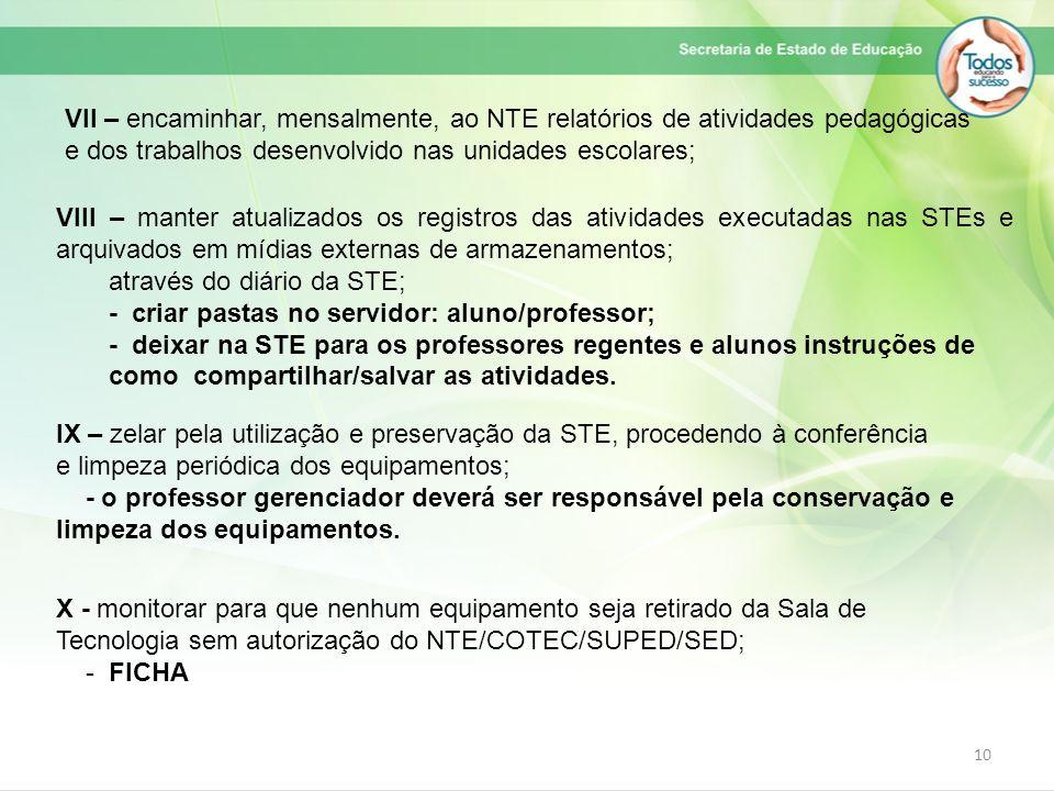 VII – encaminhar, mensalmente, ao NTE relatórios de atividades pedagógicas