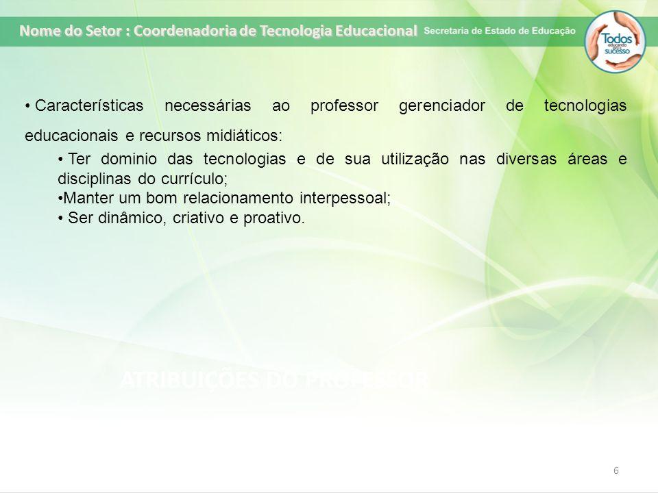 ATRIBUIÇÕES DO PROFESSOR