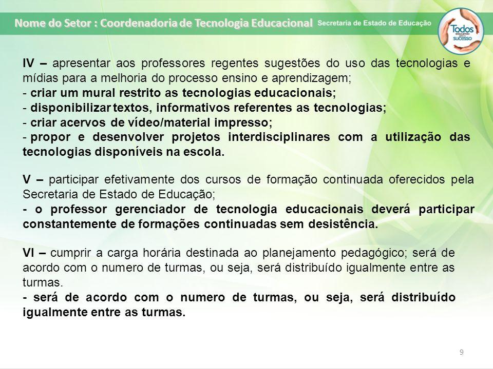 Nome do Setor : Coordenadoria de Tecnologia Educacional