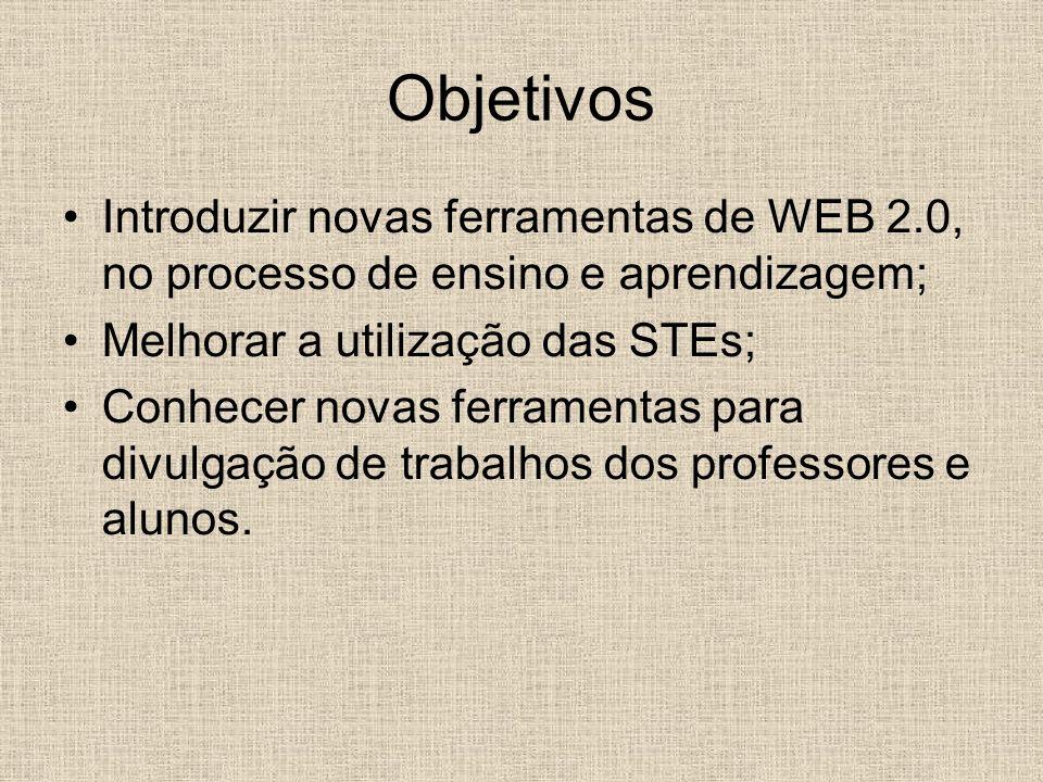Objetivos Introduzir novas ferramentas de WEB 2.0, no processo de ensino e aprendizagem; Melhorar a utilização das STEs;