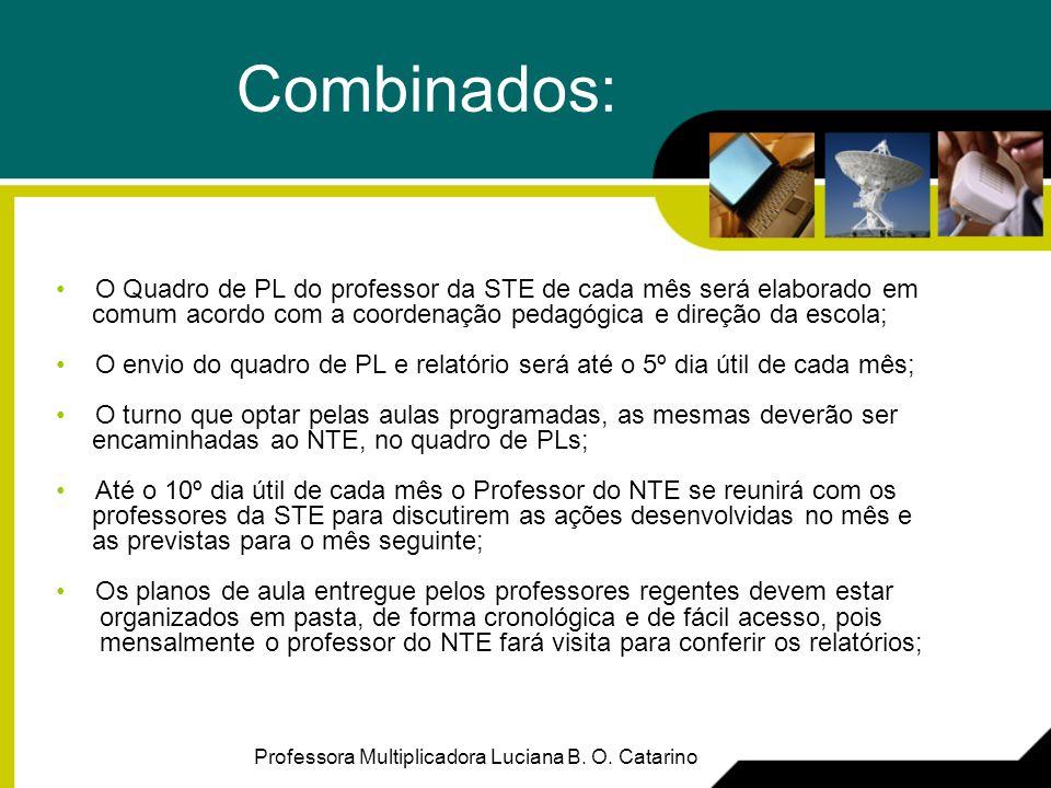 Combinados:O Quadro de PL do professor da STE de cada mês será elaborado em. comum acordo com a coordenação pedagógica e direção da escola;