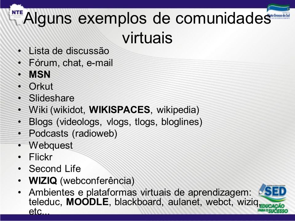 Alguns exemplos de comunidades virtuais