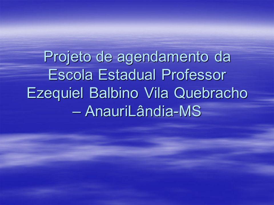 Projeto de agendamento da Escola Estadual Professor Ezequiel Balbino Vila Quebracho – AnauriLândia-MS