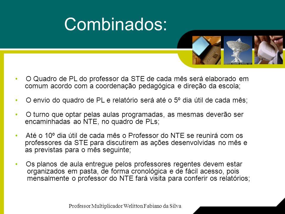 Combinados: O Quadro de PL do professor da STE de cada mês será elaborado em. comum acordo com a coordenação pedagógica e direção da escola;