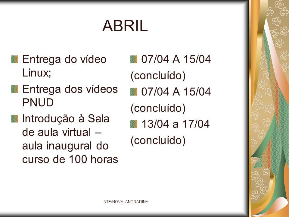 ABRIL Entrega do vídeo Linux; Entrega dos vídeos PNUD