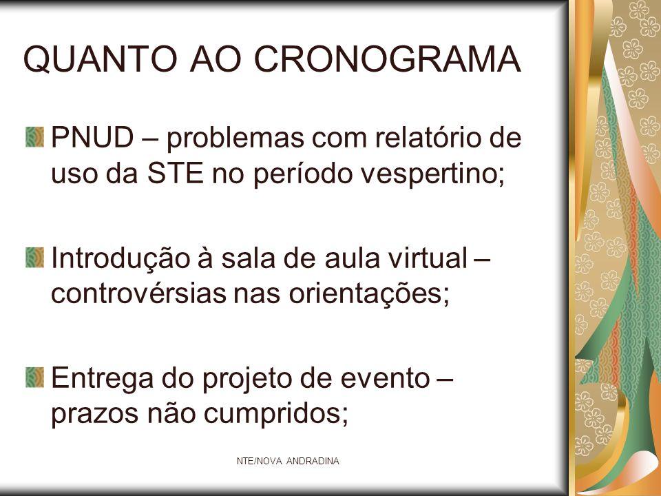 QUANTO AO CRONOGRAMA PNUD – problemas com relatório de uso da STE no período vespertino;