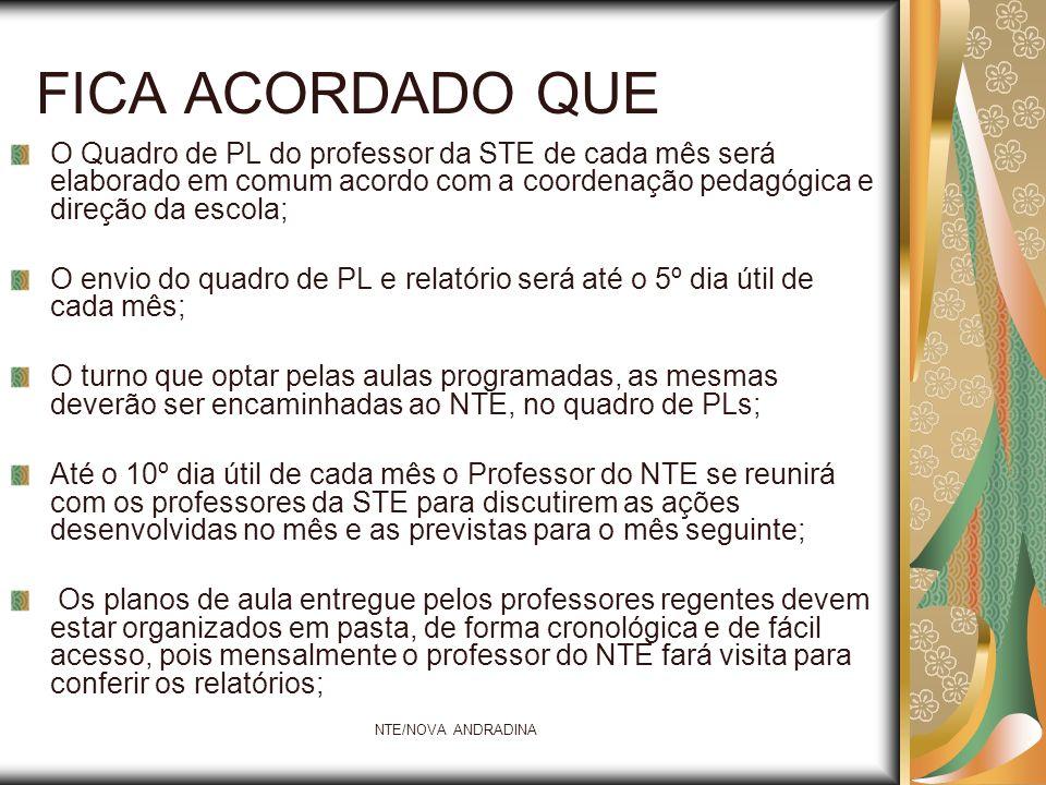 FICA ACORDADO QUE O Quadro de PL do professor da STE de cada mês será elaborado em comum acordo com a coordenação pedagógica e direção da escola;