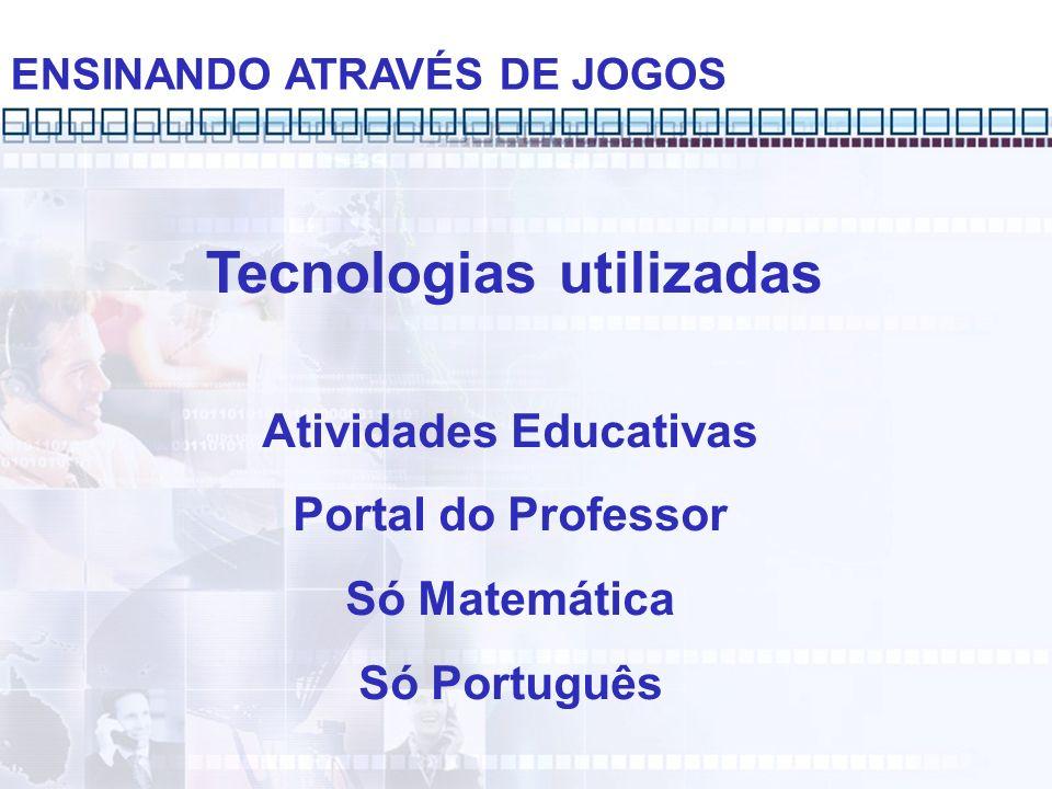 Tecnologias utilizadas Atividades Educativas