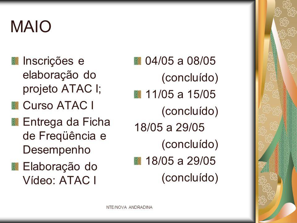 MAIO Inscrições e elaboração do projeto ATAC I; Curso ATAC I