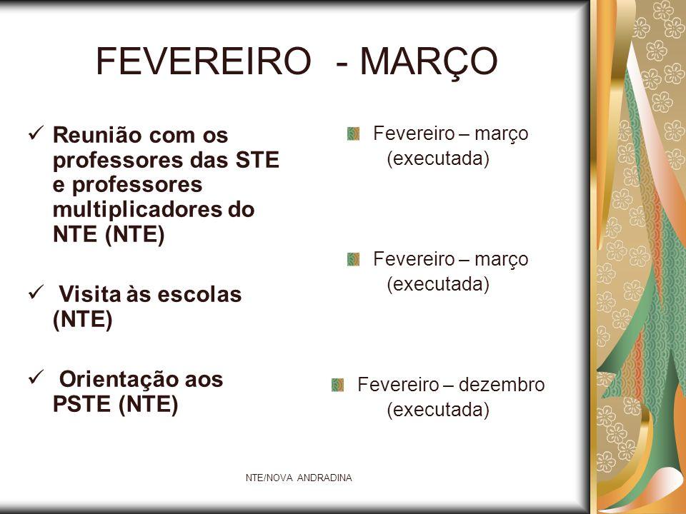 FEVEREIRO - MARÇO Reunião com os professores das STE e professores multiplicadores do NTE (NTE) Visita às escolas (NTE)