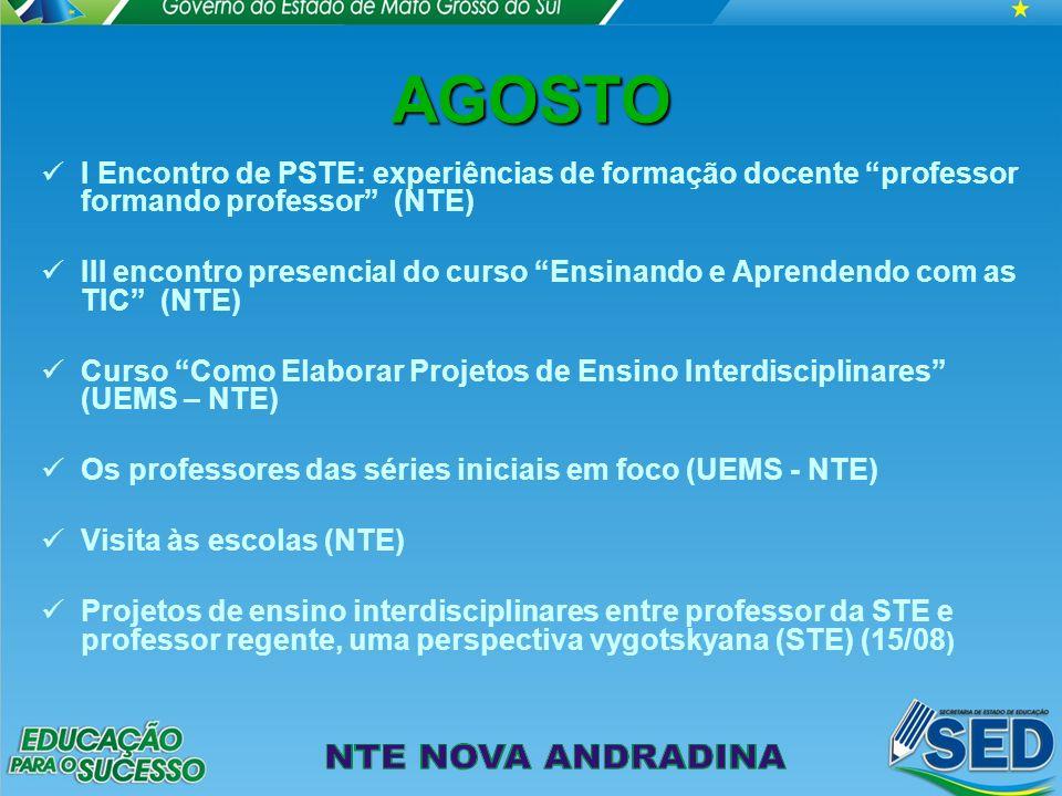 AGOSTO I Encontro de PSTE: experiências de formação docente professor formando professor (NTE)