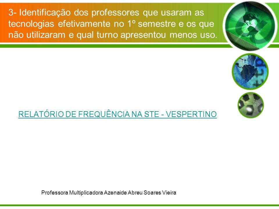 RELATÓRIO DE FREQUÊNCIA NA STE - VESPERTINO