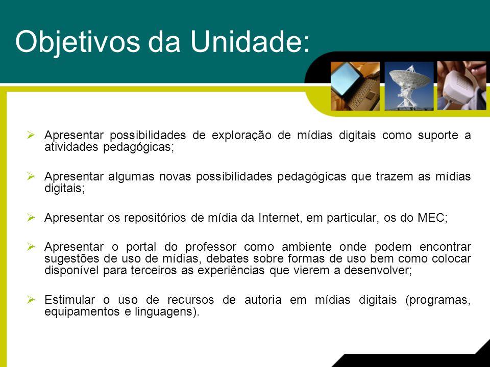 Objetivos da Unidade: Apresentar possibilidades de exploração de mídias digitais como suporte a atividades pedagógicas;