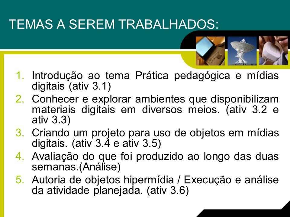 TEMAS A SEREM TRABALHADOS: