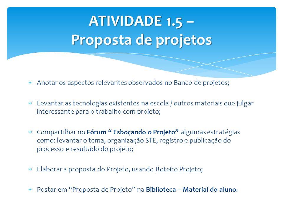 ATIVIDADE 1.5 – Proposta de projetos