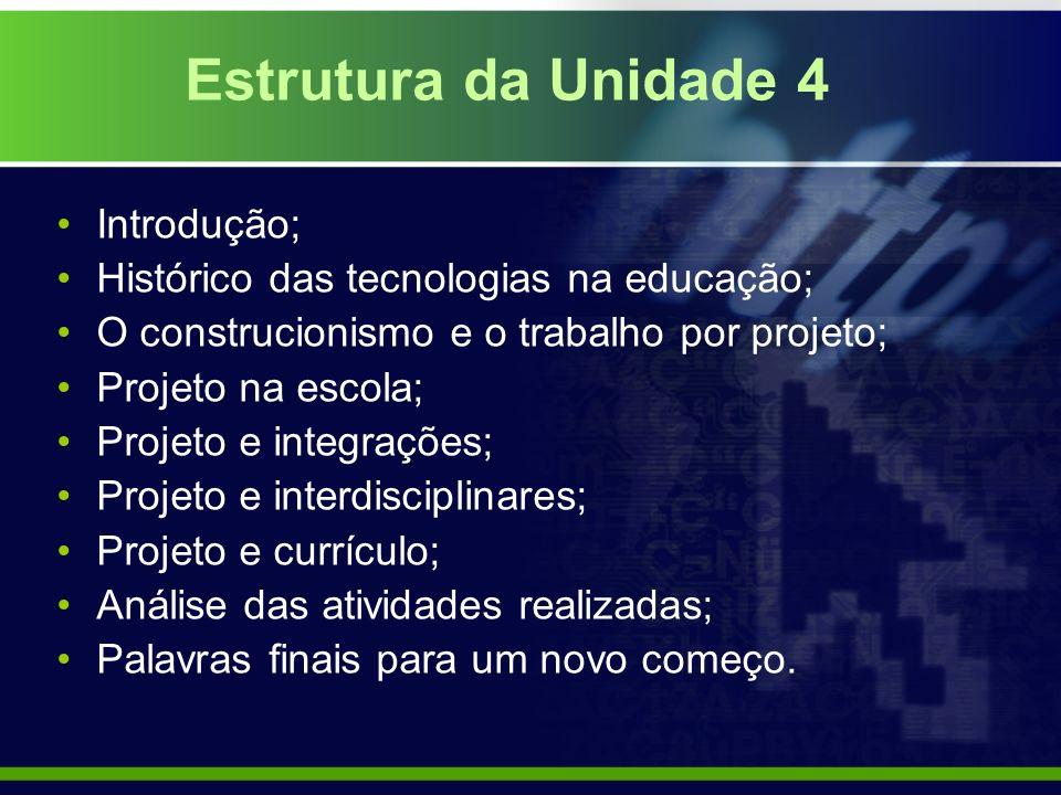 Estrutura da Unidade 4 Introdução;