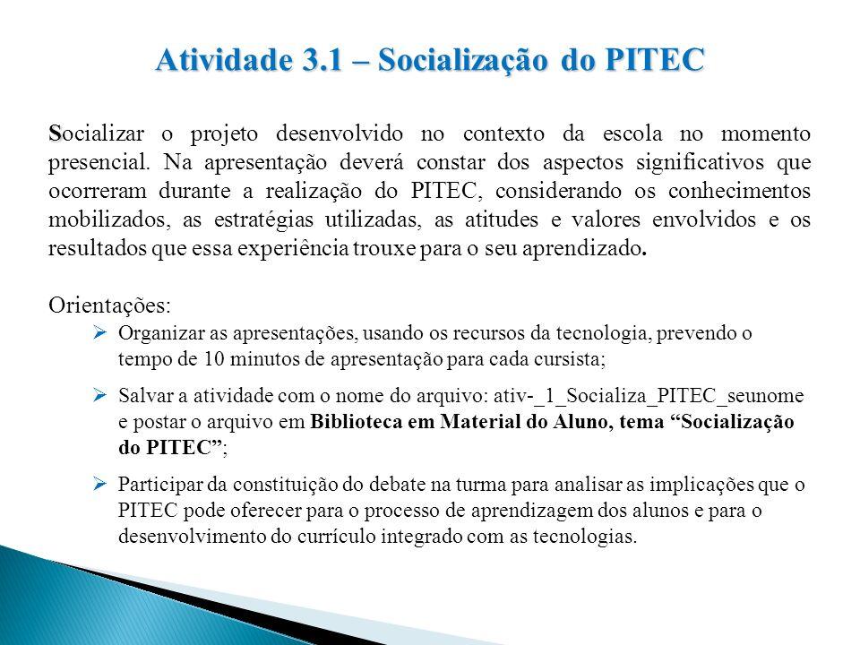 Atividade 3.1 – Socialização do PITEC
