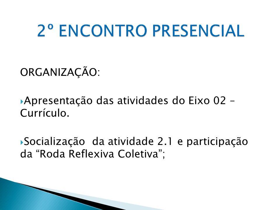 2º ENCONTRO PRESENCIAL ORGANIZAÇÃO: