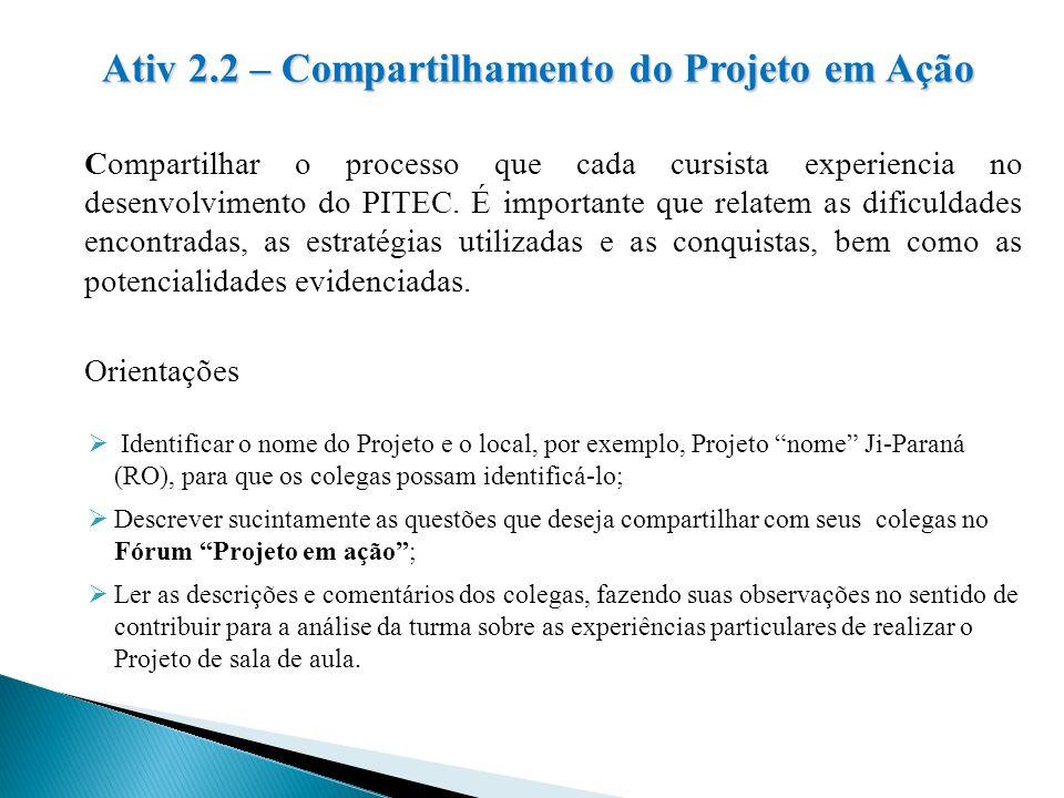 Ativ 2.2 – Compartilhamento do Projeto em Ação