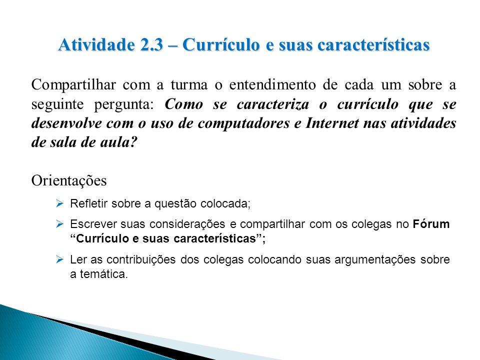 Atividade 2.3 – Currículo e suas características