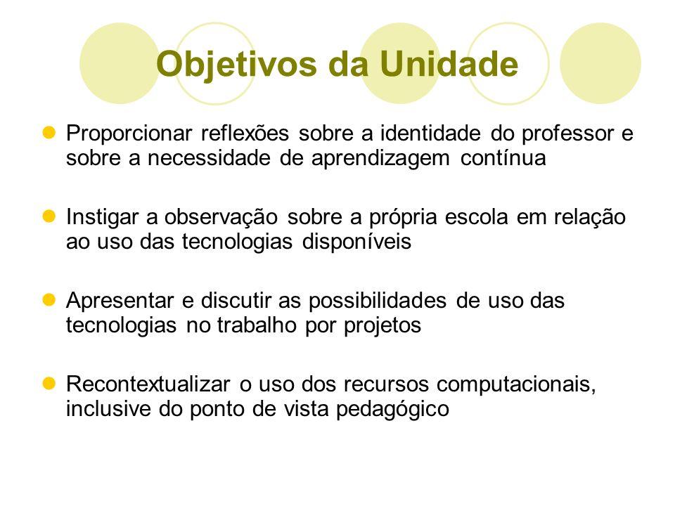 Objetivos da UnidadeProporcionar reflexões sobre a identidade do professor e sobre a necessidade de aprendizagem contínua.