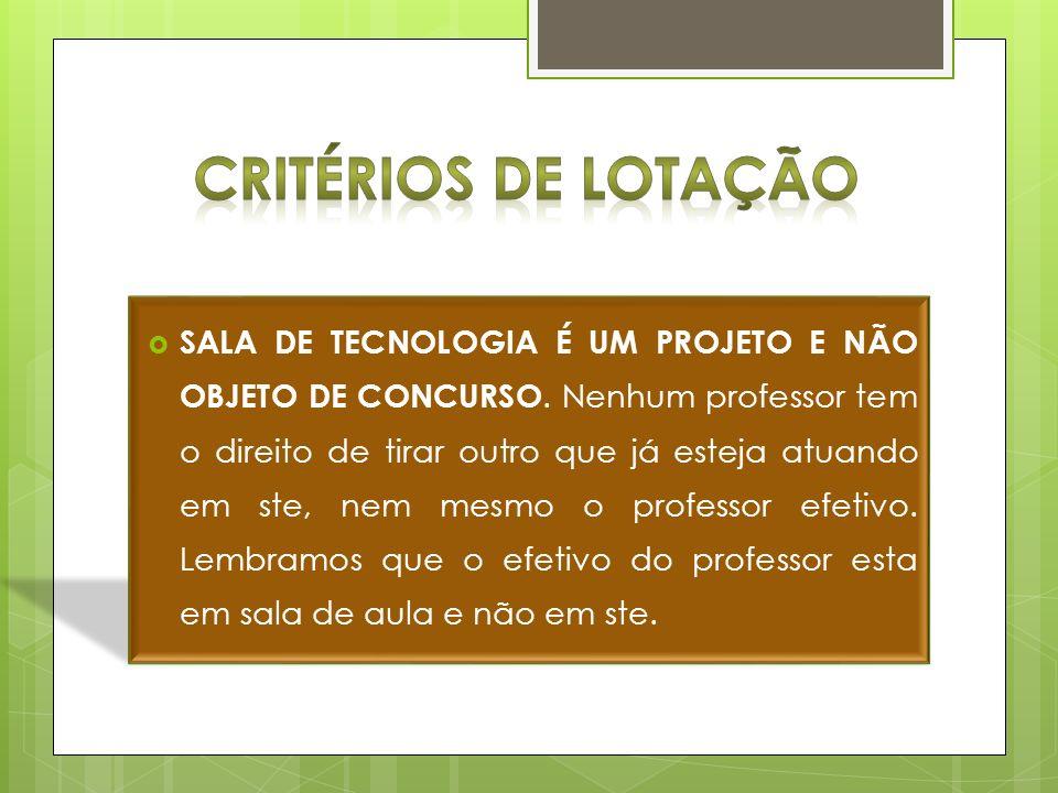 CRITÉRIOS DE LOTAÇÃO