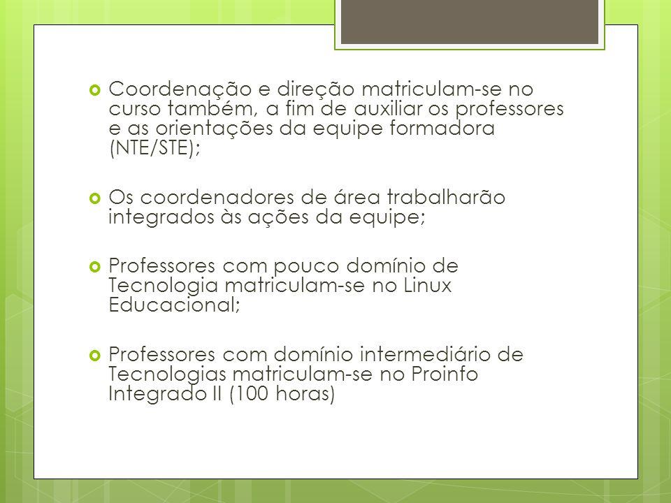 Coordenação e direção matriculam-se no curso também, a fim de auxiliar os professores e as orientações da equipe formadora (NTE/STE);