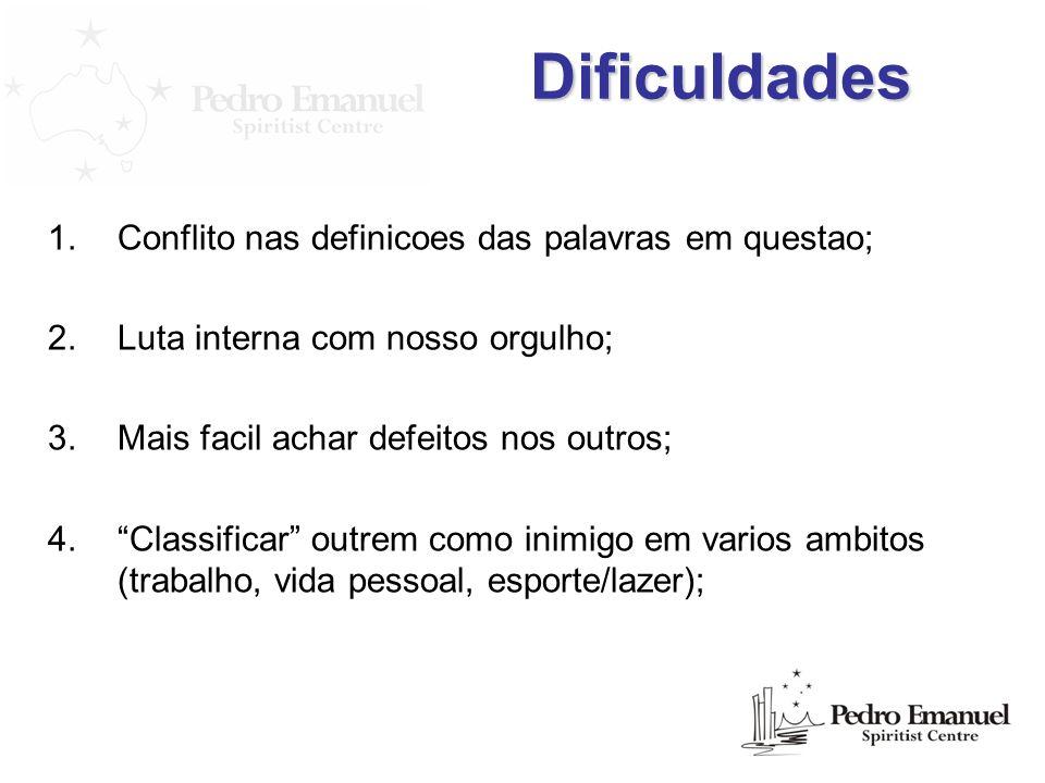 Dificuldades Conflito nas definicoes das palavras em questao;