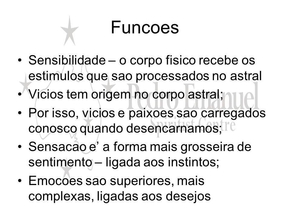 Funcoes Sensibilidade – o corpo fisico recebe os estimulos que sao processados no astral. Vicios tem origem no corpo astral;