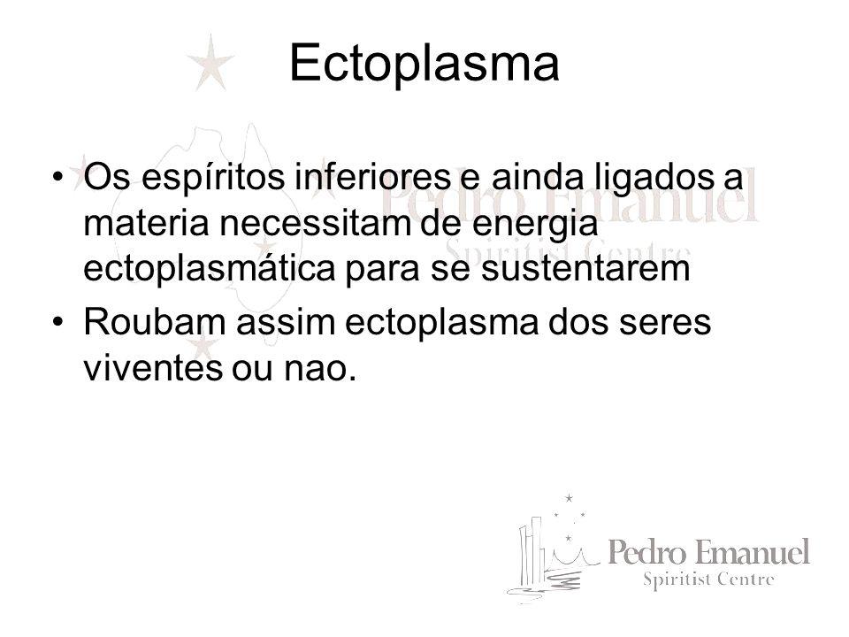 Ectoplasma Os espíritos inferiores e ainda ligados a materia necessitam de energia ectoplasmática para se sustentarem.