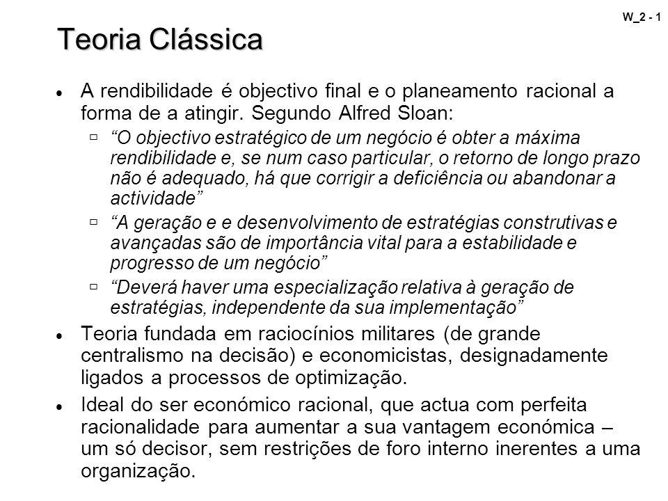 Teoria Clássica A rendibilidade é objectivo final e o planeamento racional a forma de a atingir. Segundo Alfred Sloan: