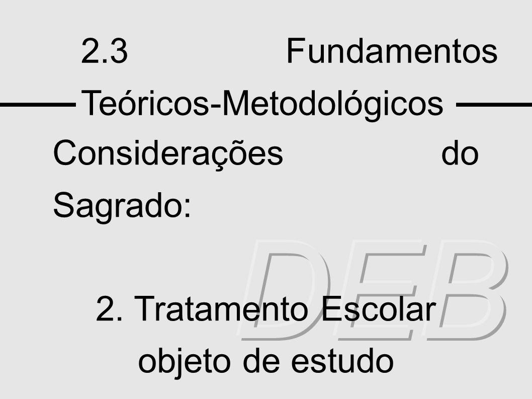 DEB 2.3 Fundamentos Teóricos-Metodológicos Considerações do Sagrado: