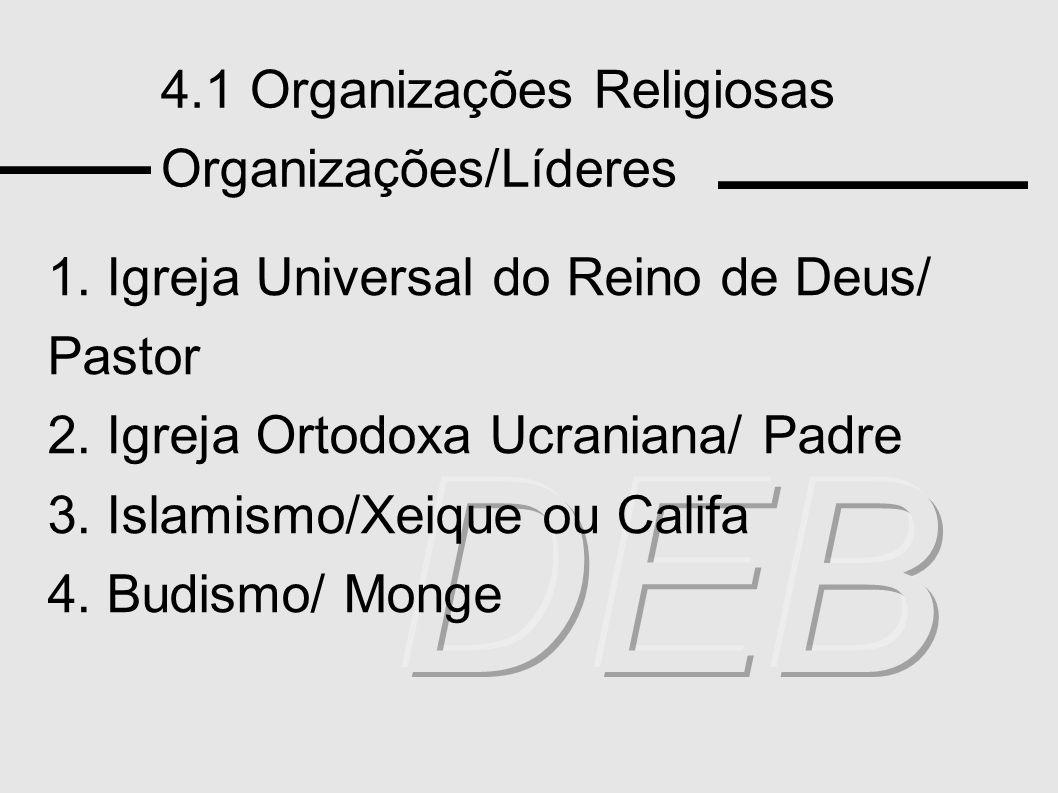 DEB 4.1 Organizações Religiosas Organizações/Líderes