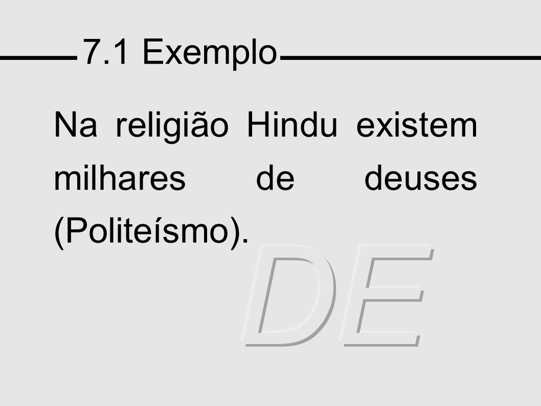 7.1 Exemplo Na religião Hindu existem milhares de deuses (Politeísmo). DEB