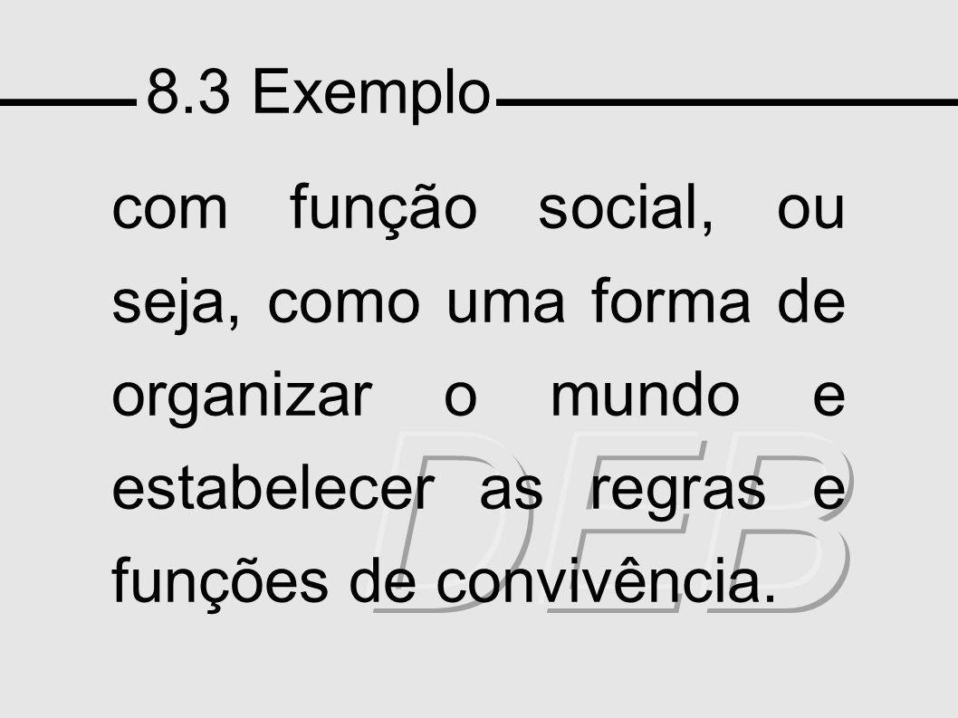 8.3 Exemplo com função social, ou seja, como uma forma de organizar o mundo e estabelecer as regras e funções de convivência.